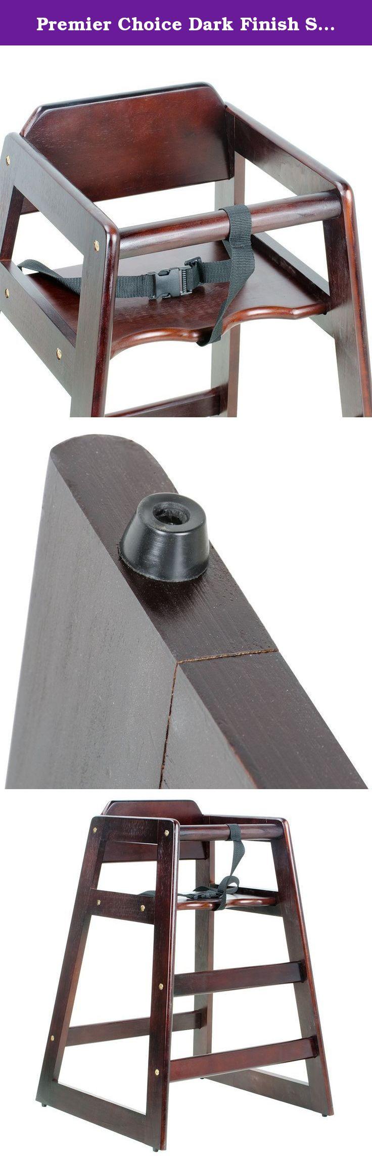 Premier Choice Dark Finish Stacking Restaurant Wood High Chair
