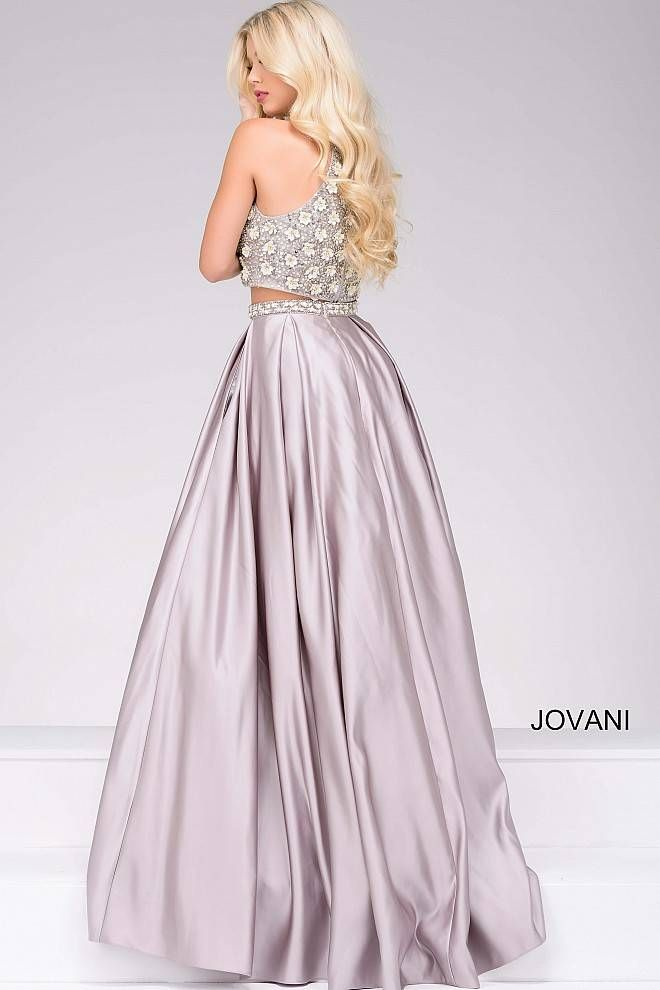 685aebd0ce46 Silver Two-Piece Embellished Satin Prom Ballgown 46996