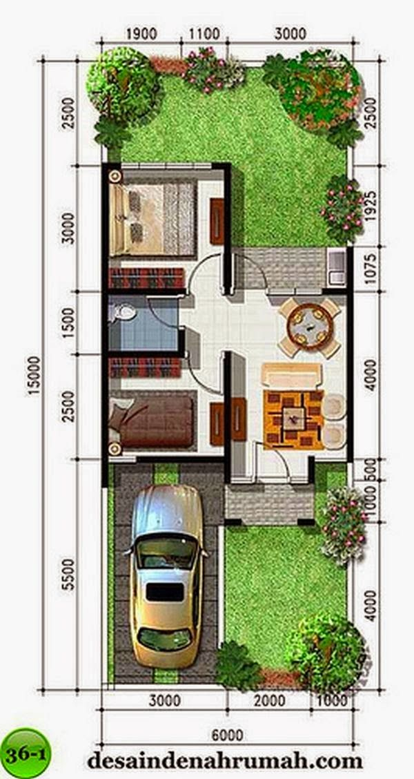 Desain Rumah Minimalis Type 36 House plans in 2019