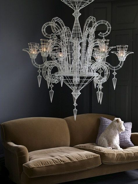 they have a Winston too! love the drama of the wire candelabra against the deep charcoal walls.