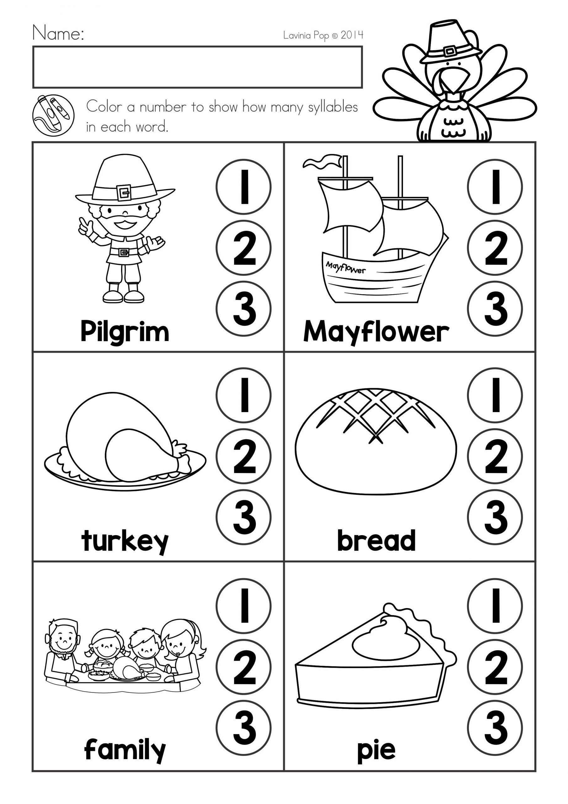 Free Syllables Worksheets For Kindergarten Syllable Worksheet Thanksgiving Math Worksheets Literacy Worksheets