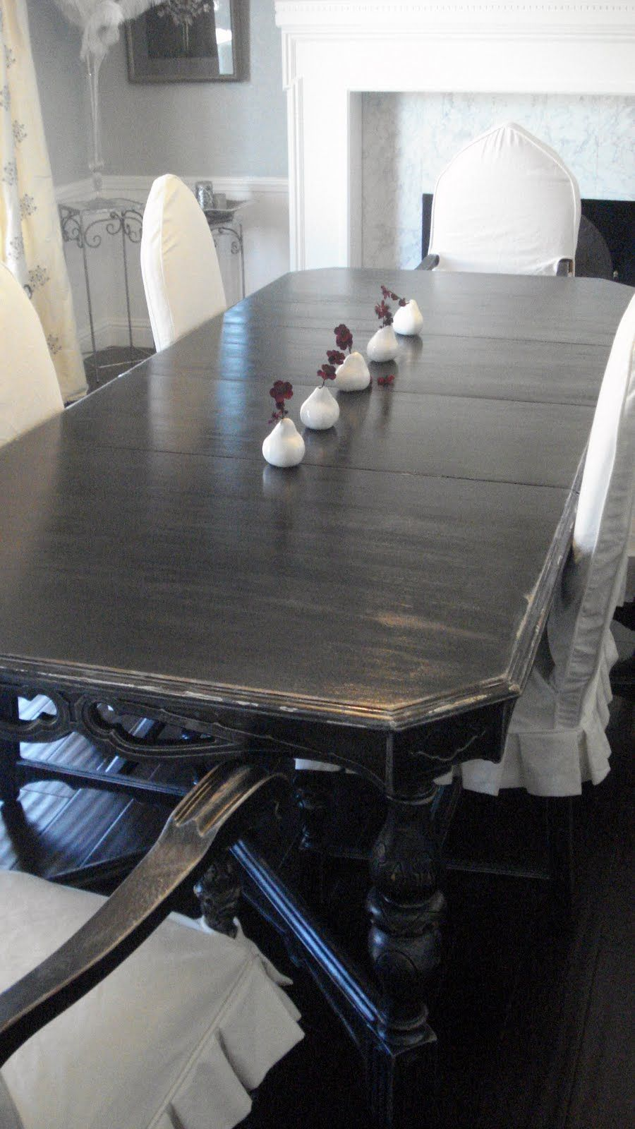 Black distressed dining table and six parlor chairs stamped 1928 - Redouxinteriors Com Black Oak Dining Table With Silver Accenting