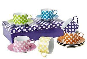 POLKA DOTS~ TEA CUPS & SAUCERS