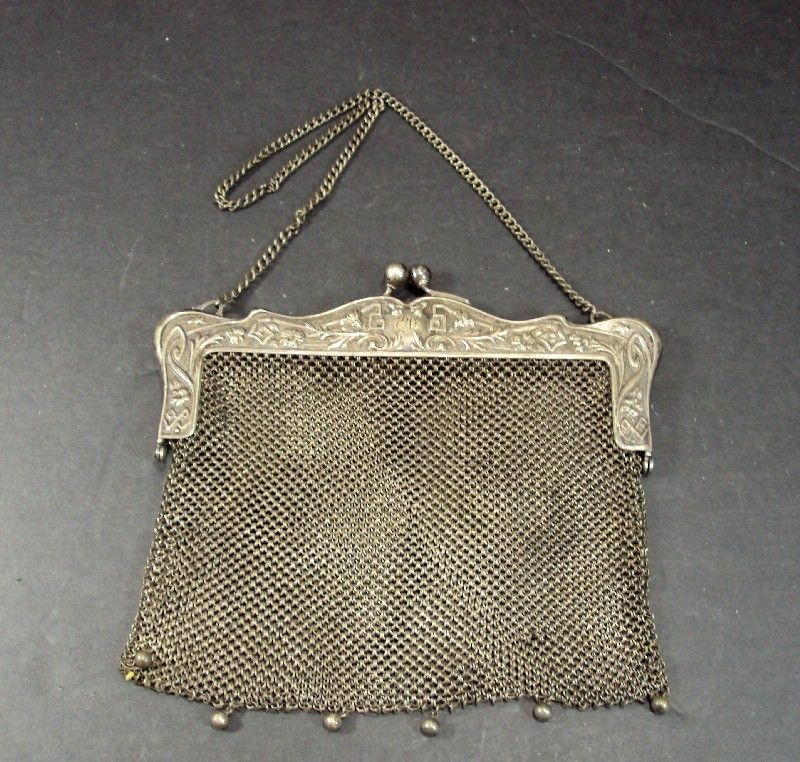 Antique Victorian Art Nouveau German Silver Chain Purse