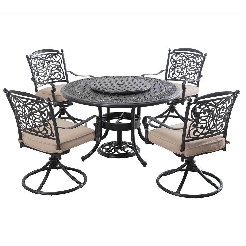 Patio Dining Set With Beige Cushions