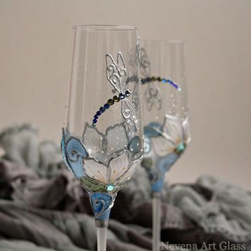 Crystal Gles Wedding Champagne Flutes Wine Hand Painted Dragonfly