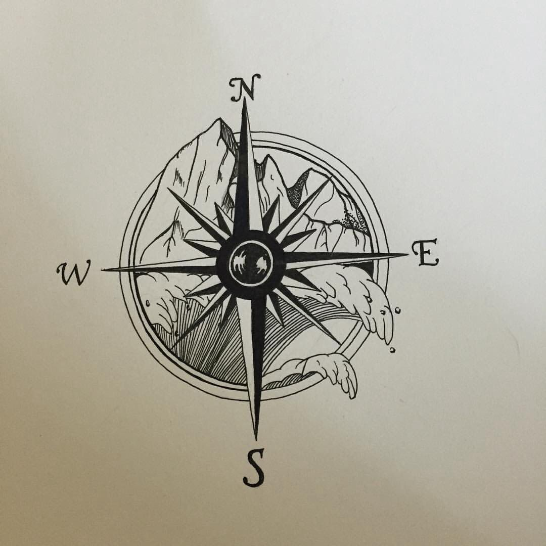 tattoo compass with mountains and ocean