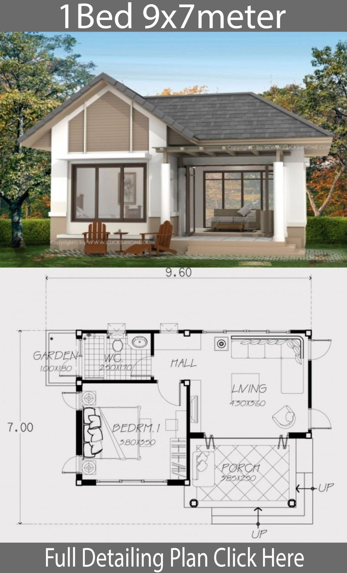 Home Design Plan 9x7m With One Bedroom Home Design With Plansearch One Bedroom House Plans One Bedroom House Cottage Design Plans