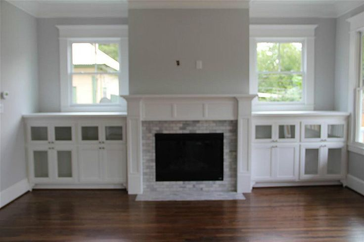 Fireplace With Tv Built Ins And Windows Fireplace Bookshelves