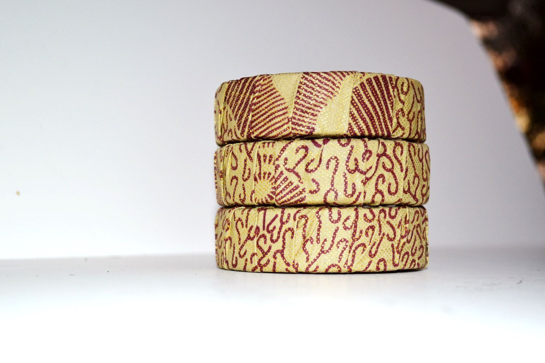Gold And Brown Kitenge Print Bracelet, African Ankara print Fabric Bangles. African Fabric Bangles, Handmade Fabric Bangles By Zabba Designs