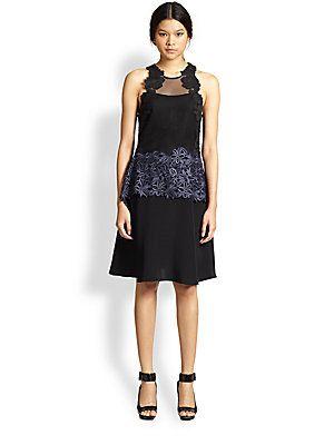 3.1 Phillip Lim Mesh/Lace-Paneled Dress