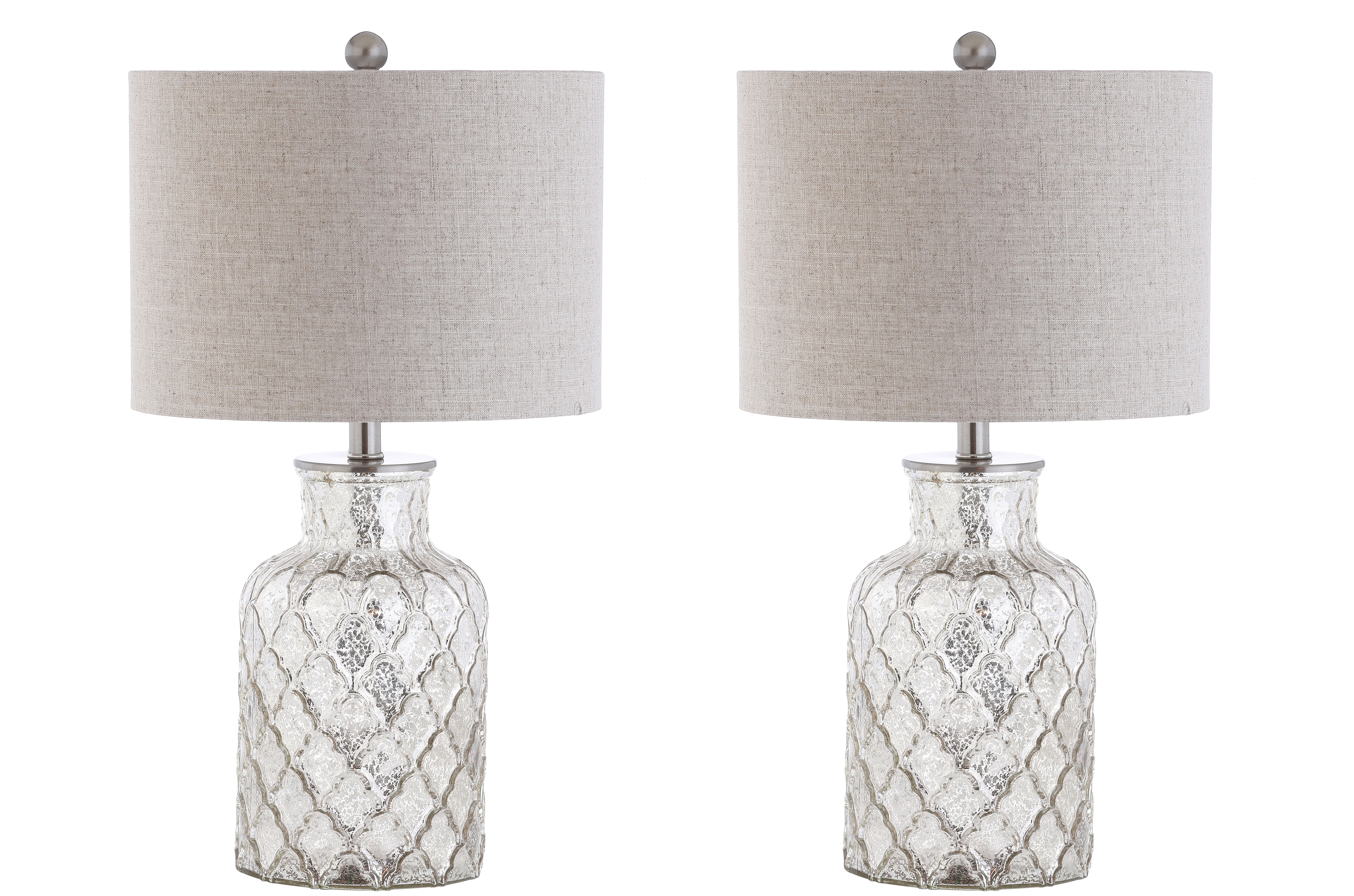 "Alvord 24.5"" LED Glass Table Lamp, Mercury Silver (Set of"