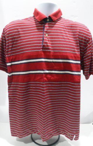 VTG-90s-Tommy-Hilfiger-Crest-Logo-Striped-Colorblock-Polo-Sport-Shirt-Size-M