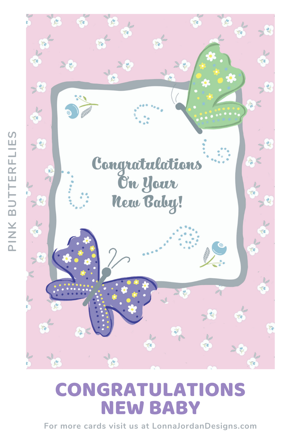 Congratulations to the new baby boy or girl. A new baby on the way is very exciting and we have the perfect card for the expectant parents. Baby blue card with sweet butterflies. #baby, #babyboy, #babygirl, #congratulations, #butterflies, #card, #greetingcard