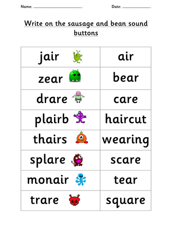 Phonics Air Ear Are Family Alien And Real Words Alien Words Phonics Phonics Activities