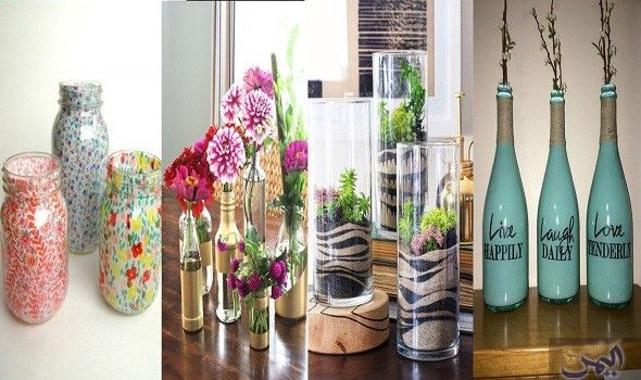 أفكار بسيطة لتزيين المزهريات وتغيير ديكور منزلك Bottles Decoration Home Decor Decor