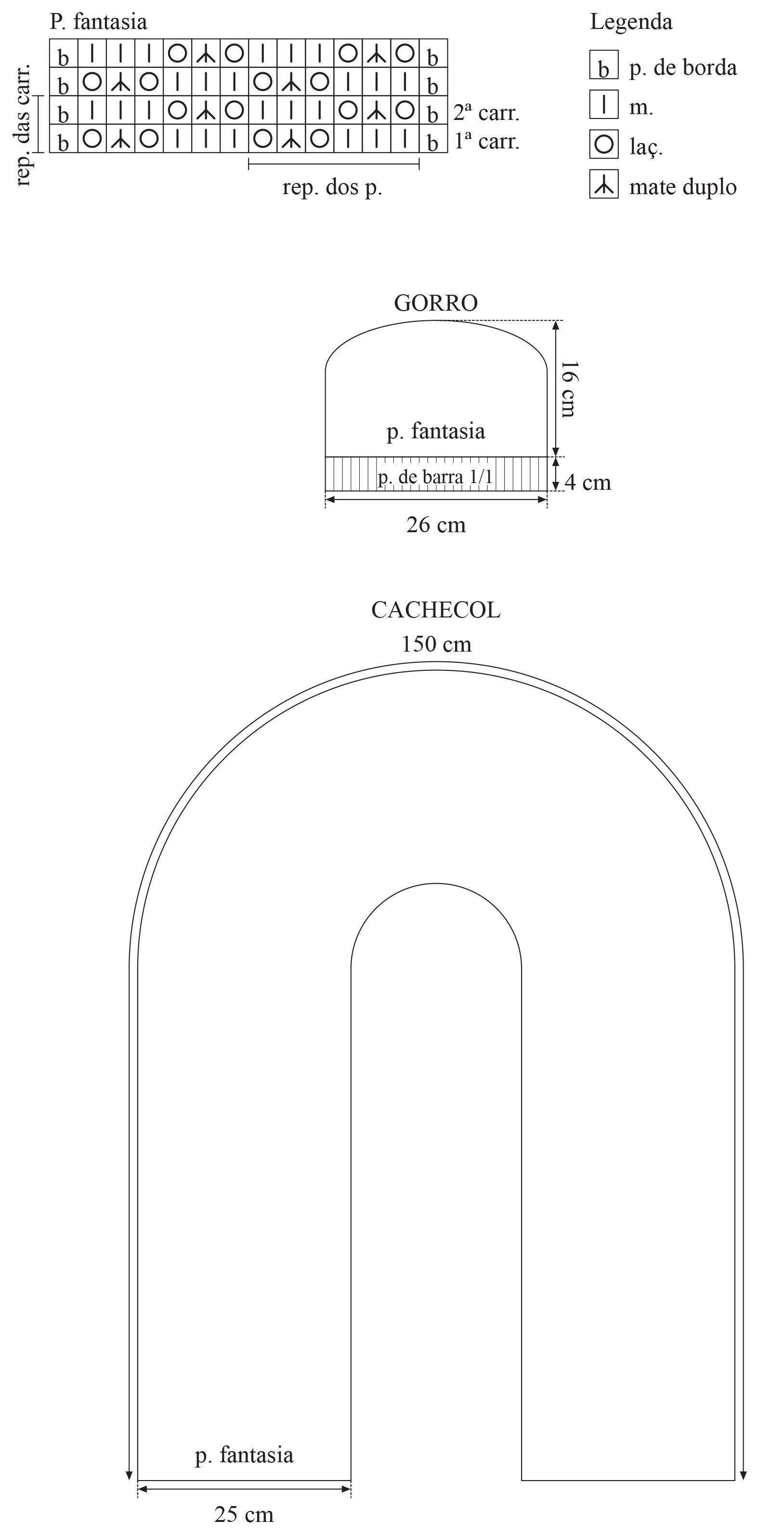 Material: Fio Cisne Noble (nov. 100 g): 3 nov. na cor: 00408 (preto e vermelho); Agulha para tricô Corrente Milward nº 8; Agulha para costura Tapestry Corrente Milward nº 16. Tensão do ponto: 10 x 10 cm = 11 p. X 14 carr. (medidos sobre o p. fantasia). Abreviaturas e pontos empregados: p. –