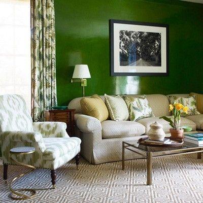 Dark Hunter Green accent wall | Living room green, Dark ...