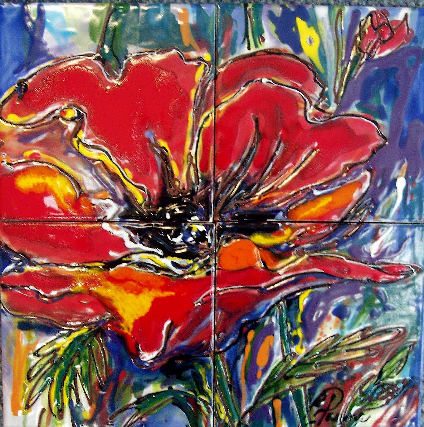 Carolyn payne murals hand painted tile mural of poppy floral 6 carolyn payne murals hand painted tile mural of poppy floral 6 ceramic tile doublecrazyfo Images