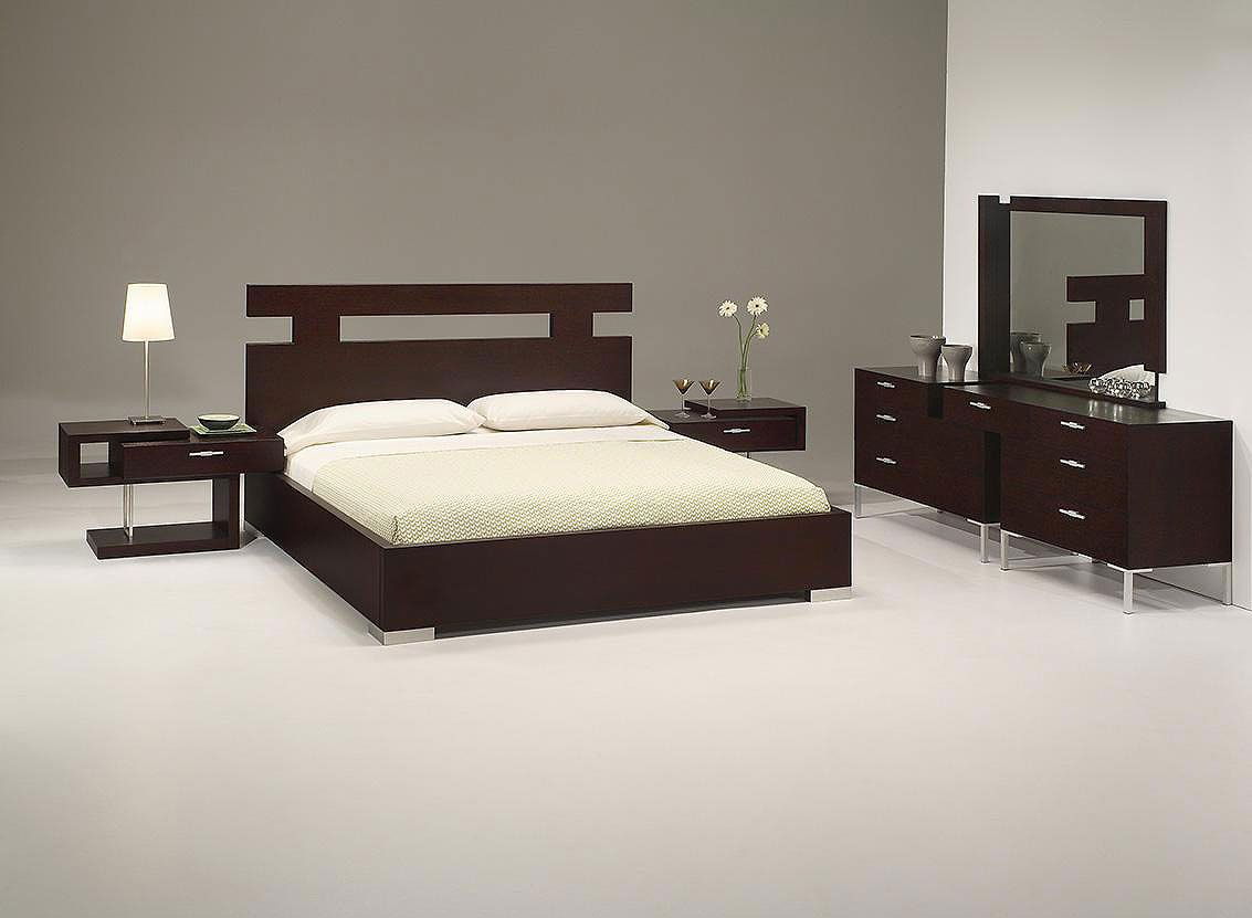 [Bedroom] : Elegant Simple Design Bedroom In White And Grey Also Modern  Wooden Bed With Headboard In Dark Brown Plus Couple Wood Side Table Plus  Beautiful ...