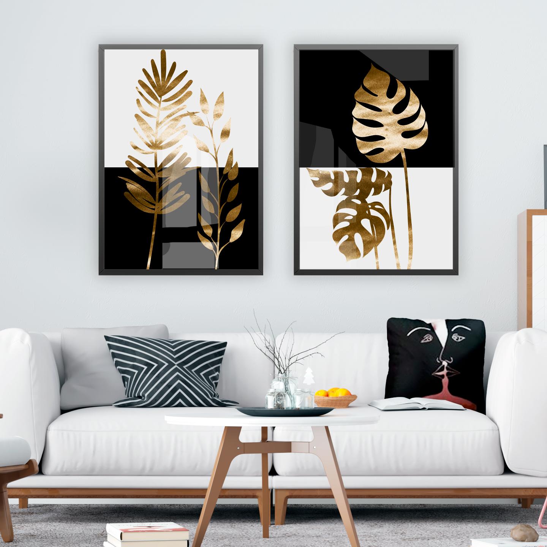 Plantas em ouro branco e preto Quadros
