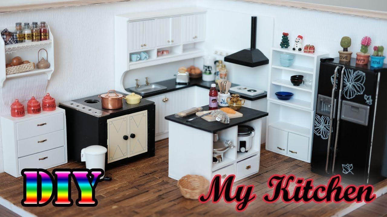 Diy Miniature Dollhouse My Kitchen Youtube Miniature Kitchen Dollhouse Kitchen Dollhouse Furniture Tutorials