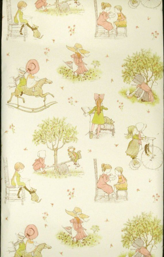 Vintage Hollie Hobbie Wallpaper I Had This In My Room As A Kid And Love It Holly Hobbie Illustration Wallpapers Vintage