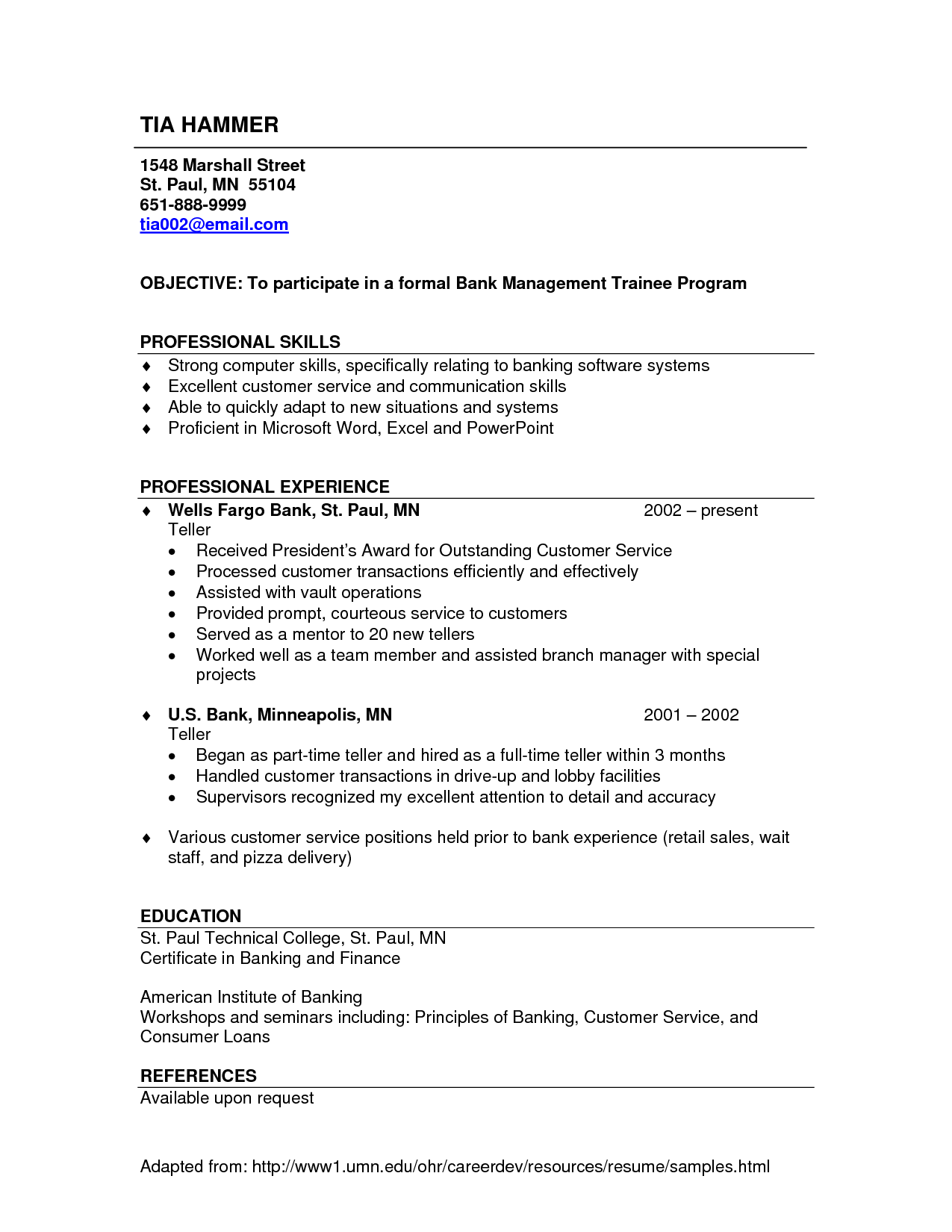 Sample Bank Teller Resume With No Experience   Http://www.resumecareer.