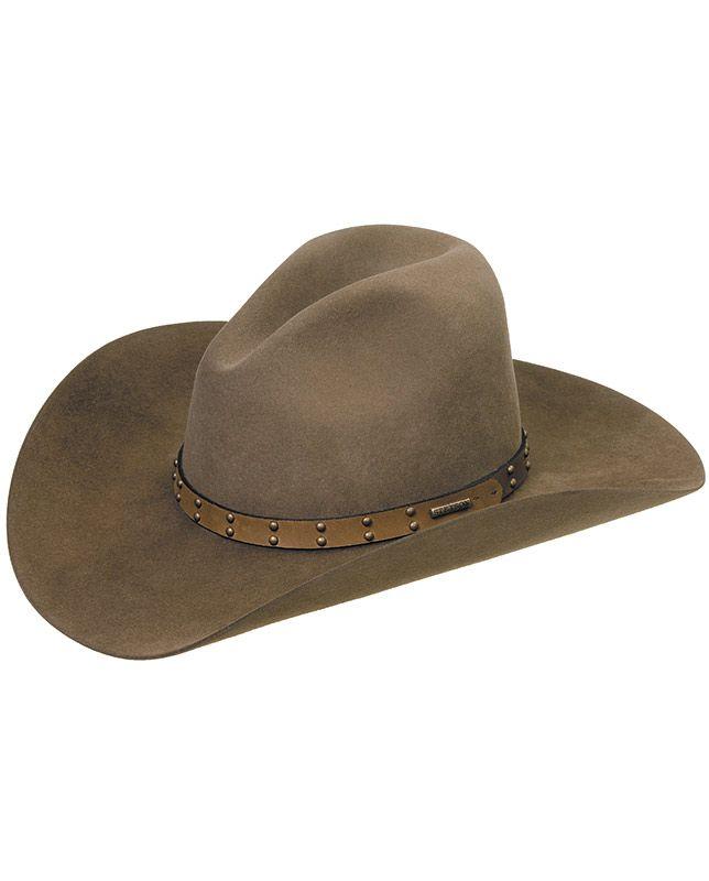 501d1baf34d Seminole 4X Mink Buffalo Fur Felt Cowboy Hat by Stetson with Gus crown and  4-inch brim