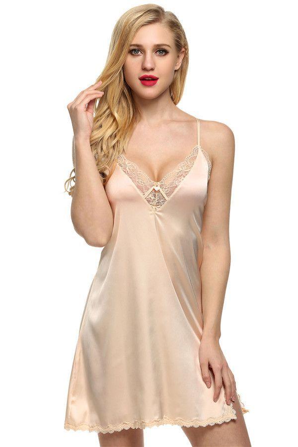 ec66915a98 Ekouaer sleep dress Sexy Satin Sleepwear Silk Nightgown Women Nightdress Sexy  Lingerie Plus Size S M L XL XXL Female Nightie