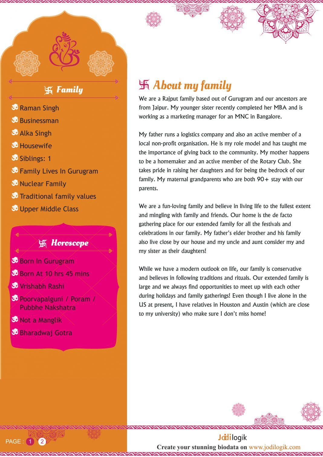 Hindu matrimonial resume bio data for marriage biodata
