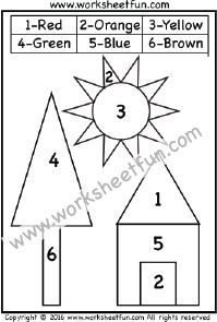 color by number shapes circle triangle square rectangle one worksheet classroom pre. Black Bedroom Furniture Sets. Home Design Ideas