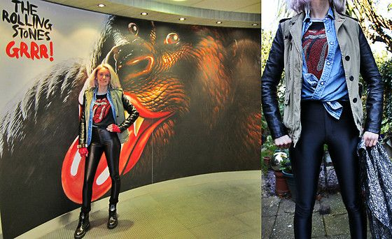 Bershka Military Leather Arm Jacket Aw12, Levi's Vintage 1980's Denim Shirt, Rokii The Rolling Stones Official T Shirt, American Apparel Black Disco Pants Ss12, River Island Red Stud Fingerless Gloves Aw07, Rokii Spike Bangle, Topshop Hologram Scarf Aw05