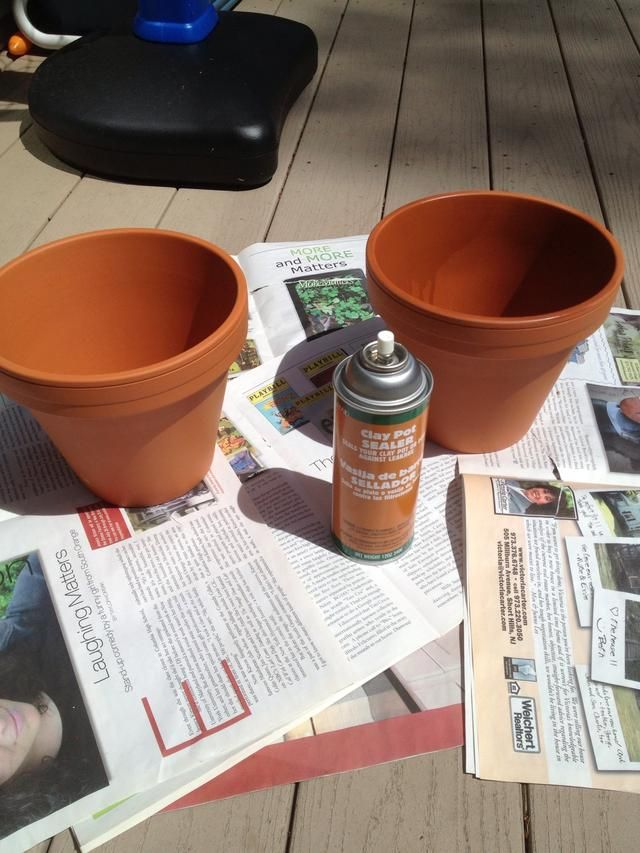 spray inside and bottom of pot with clay pot sealer this will