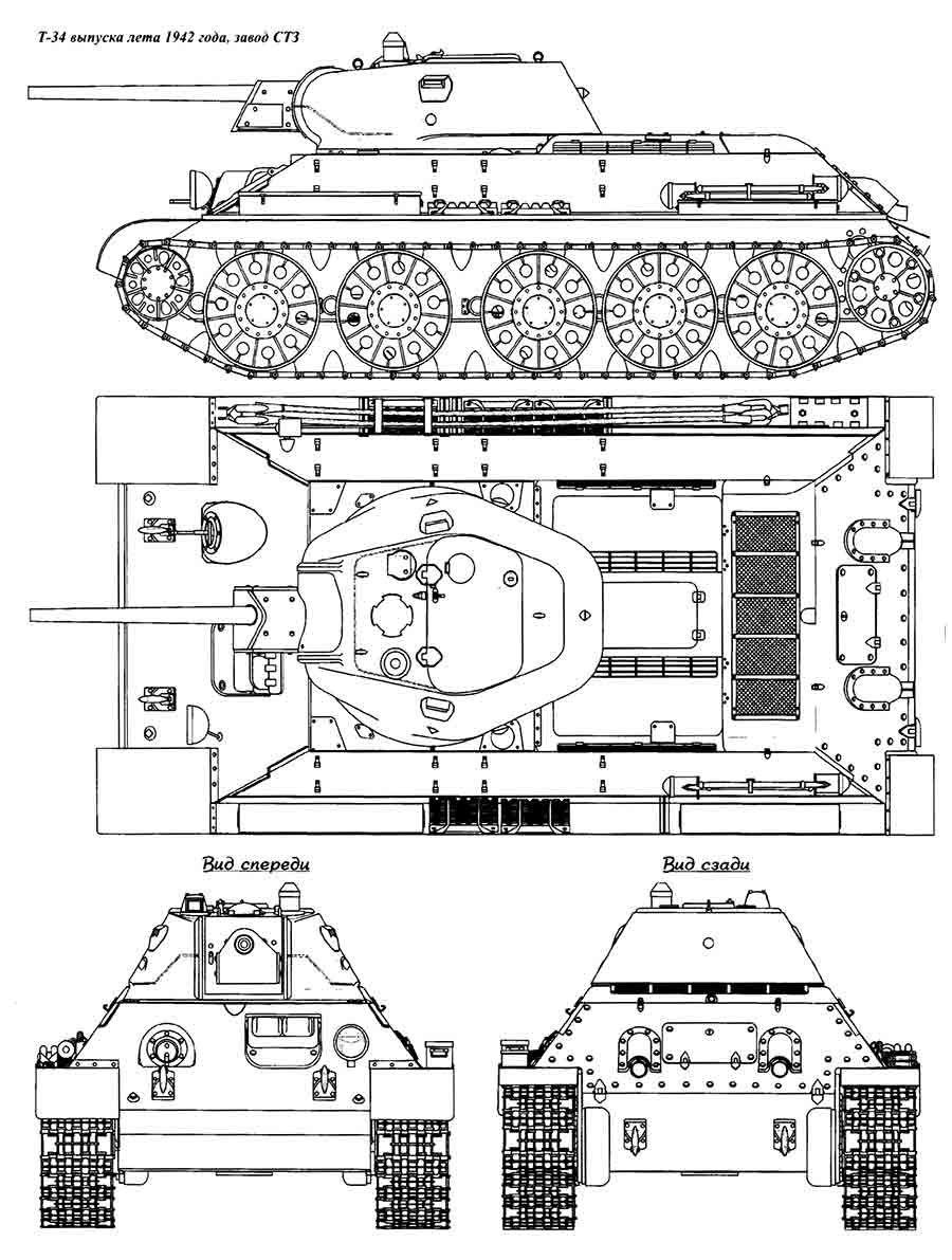 Desenho em quatro vistas do T-34