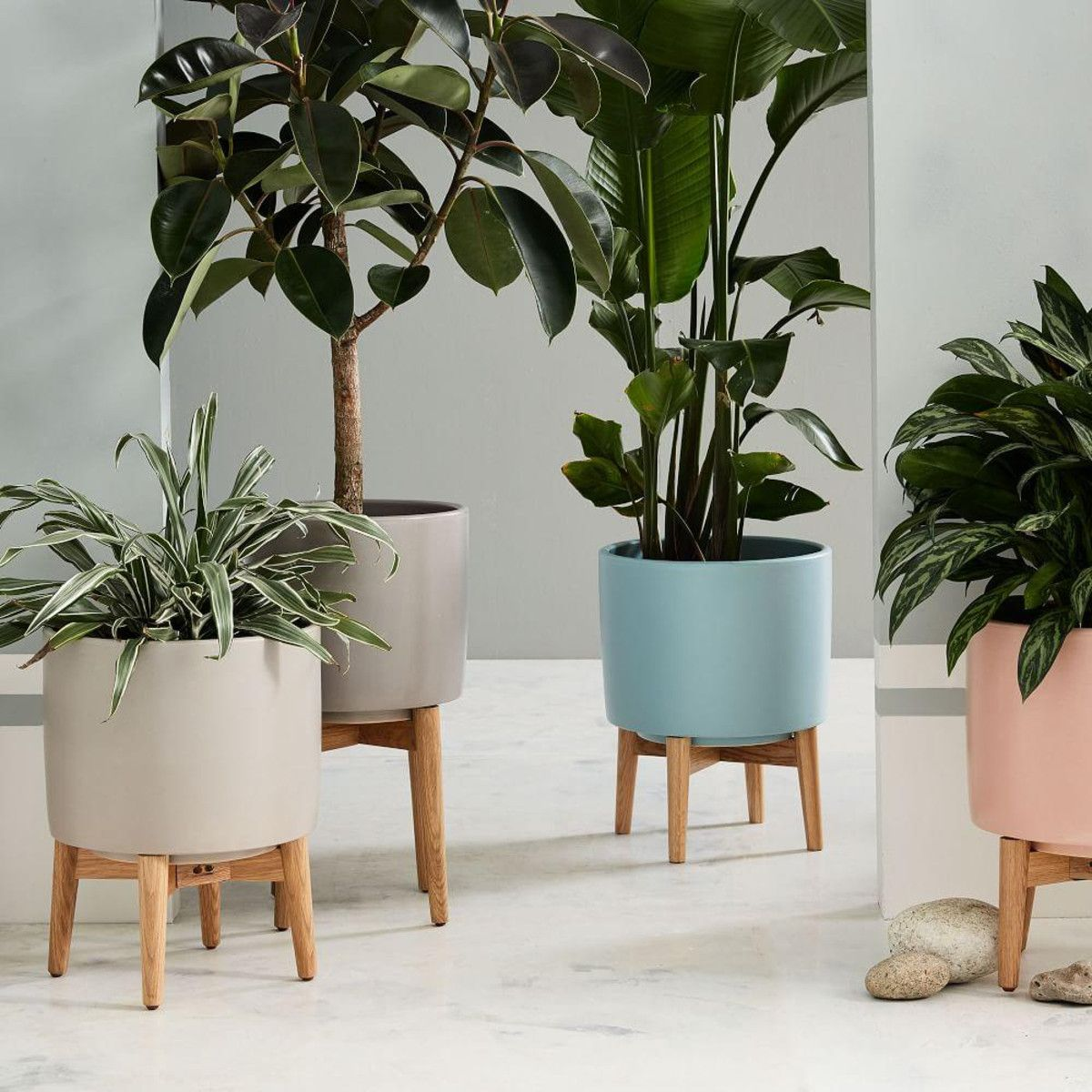 Mid-Century Turned Leg Standing Planters - Matte | To buy ...