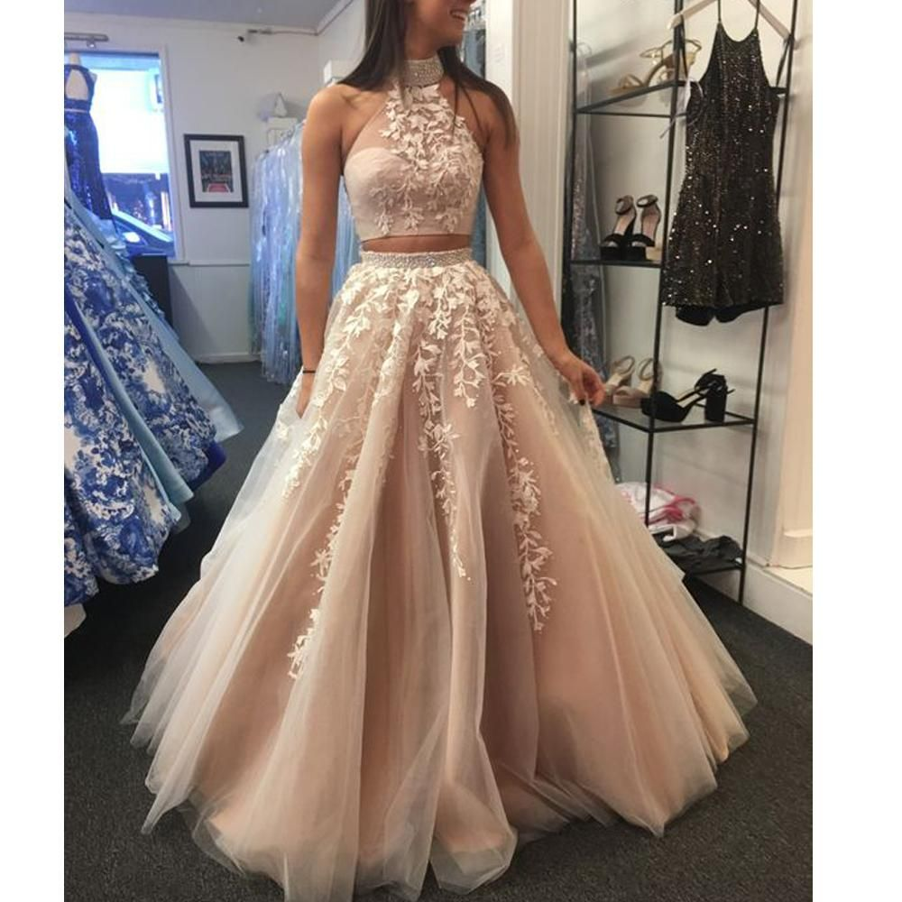 Two Pieces Prom Dresses 2020 Lace Appliques Beading Sequins Crystal Champagne A Line Floor Length Evening Dresses Arabic Party Dresses Piece Prom Dress Lace Evening Dresses Cute Prom Dresses [ 1000 x 1000 Pixel ]
