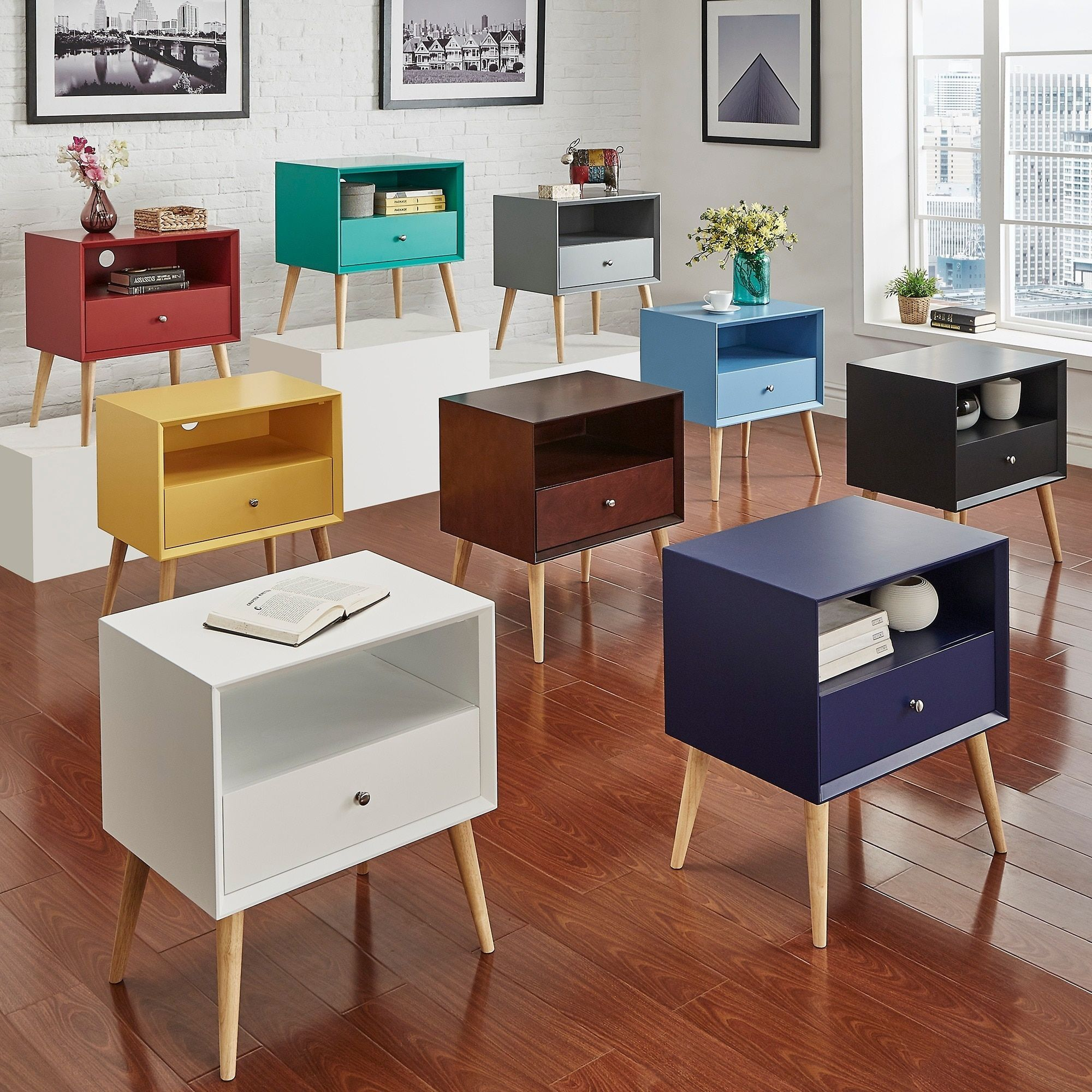 Marin Danish Modern 1-drawer Storage Accent Side Table iNSPIRE Q Modern by  iNSPIRE Q