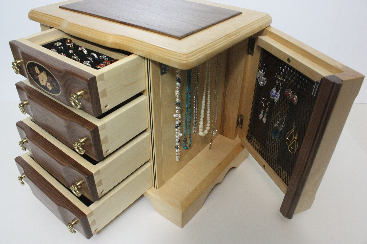 4 Drawer Jewelry Box with Swing Out Sides for Necklaces For Sale