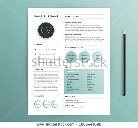 Resume / CV template design - nature feel green color - vector ...