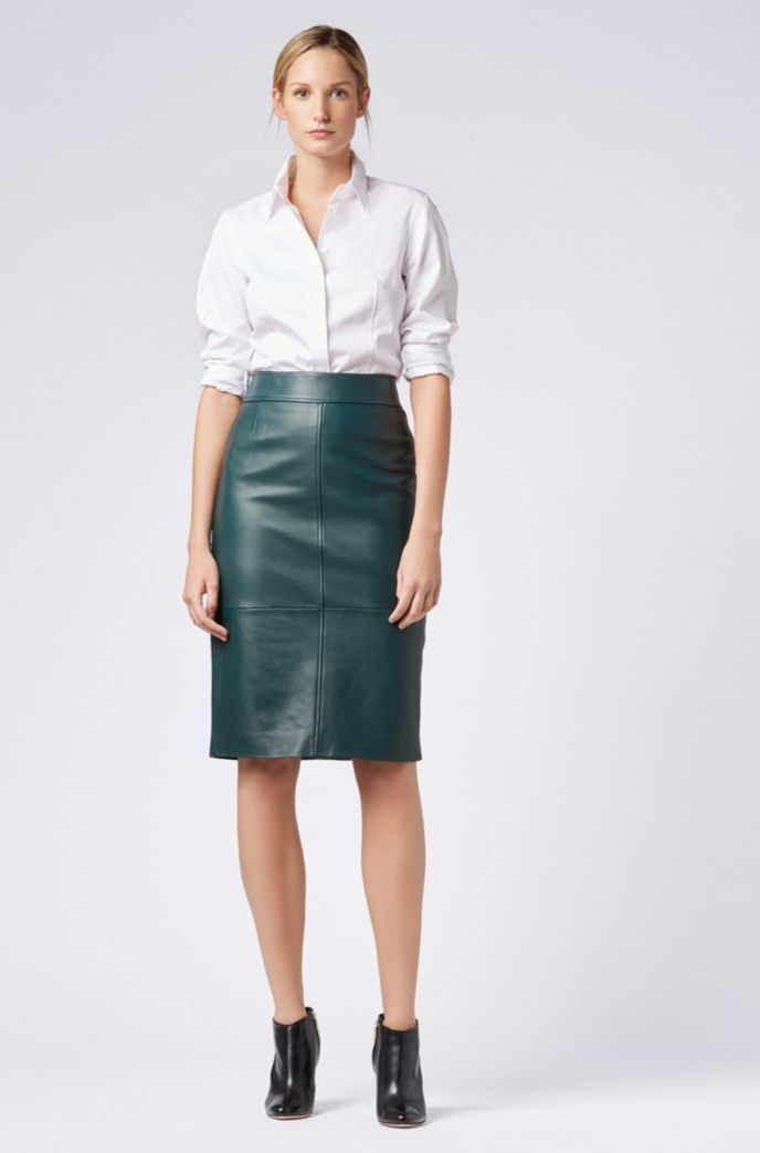 4d4ed7543f Lambskin-leather pencil skirt with paneled structure - Open Green from BOSS  for Women for $595.00 in the official HUGO BOSS Online Store free shipping