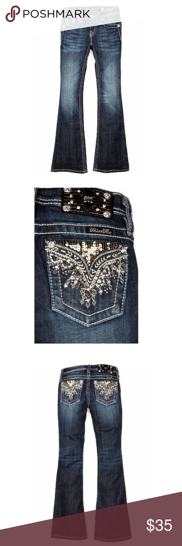 """NEW MISS ME • GIRLS HOUR BOOT CUT JEANS OBO 98% Cotton; 2% Elastane Machine Wash Separately In Cold Water Front Rise: 6 ¾"""" ; Back Rise: 11 ¾"""" Inseam: 28 ¾"""". • boot cut jeans styled with an embroidered design with sequins and crystal rivets! Jean is also detailed with fading, whiskering, logo hardware, and contrast stitching. NEW. Girls size not women's Miss Me Jeans Boot Cut"""