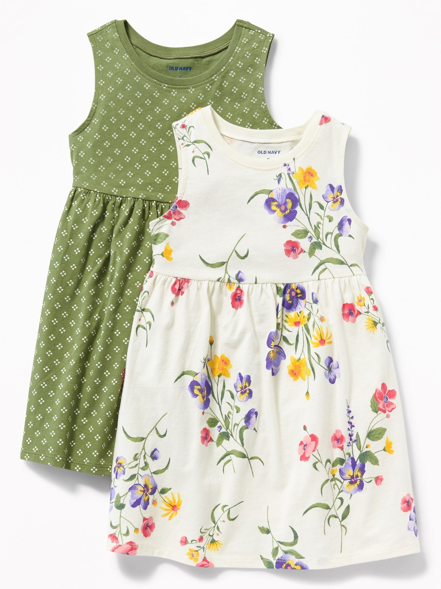 Floral Print Jersey Fit Flare Dress 2 Pack For Toddler Girls Old Navy Kids Dress Toddler Girl Dresses Plain Dress Casual [ 2000 x 1500 Pixel ]