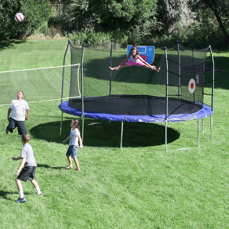 Trampoline 15 Ft Enclosure Set Safety Net Basketball Hoop Bounce Volleyball Net Ebay Trampoline Sport Backyard Trampoline Sports Arena