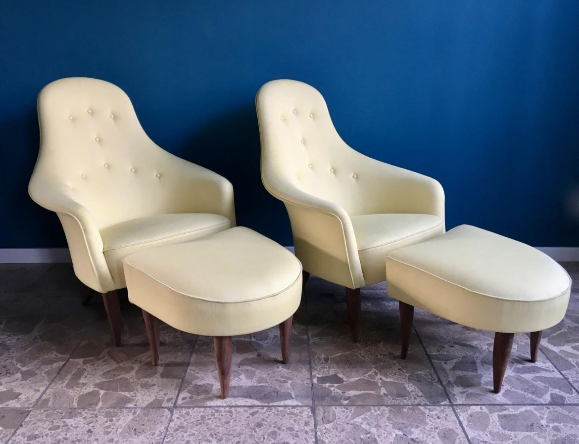 1950s large adam lounge chair with ottoman by kerstin