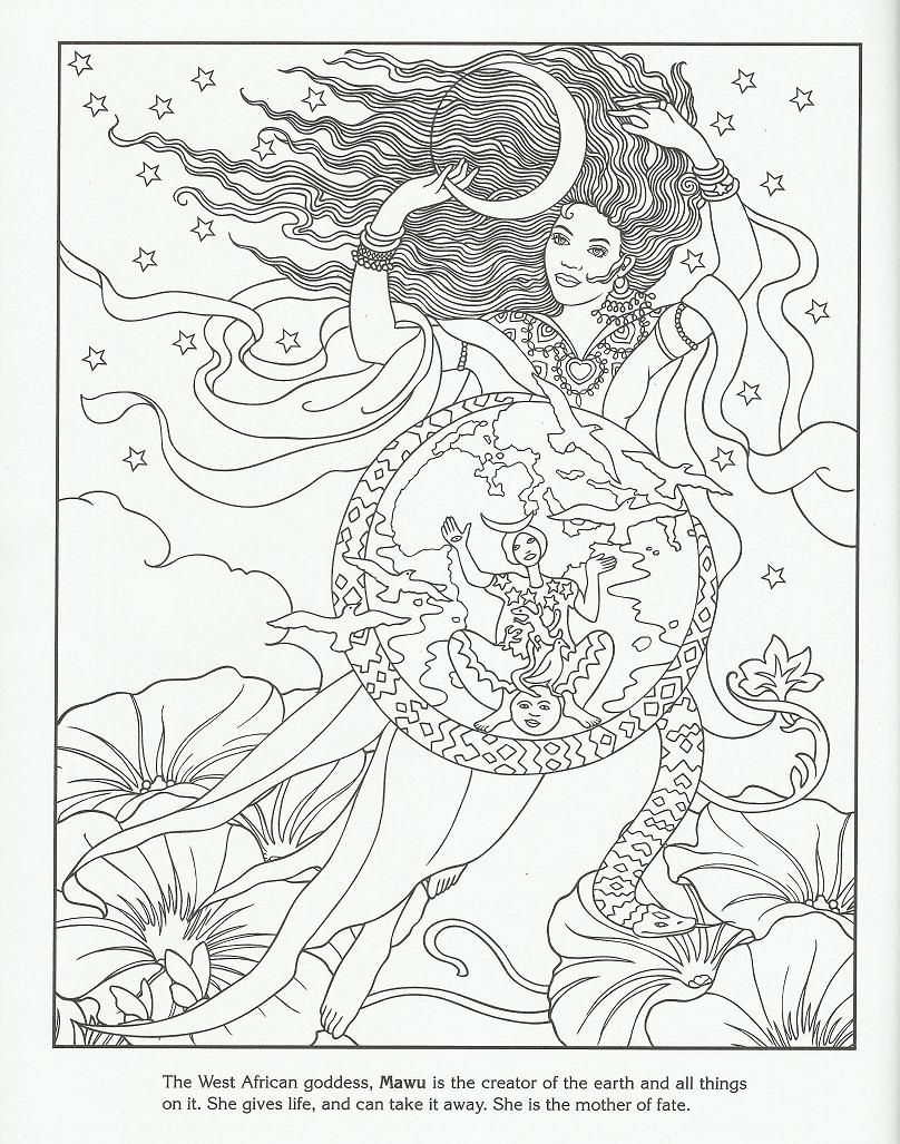 Mawa West African Goddess Creator Of The Earth Coloring Pages
