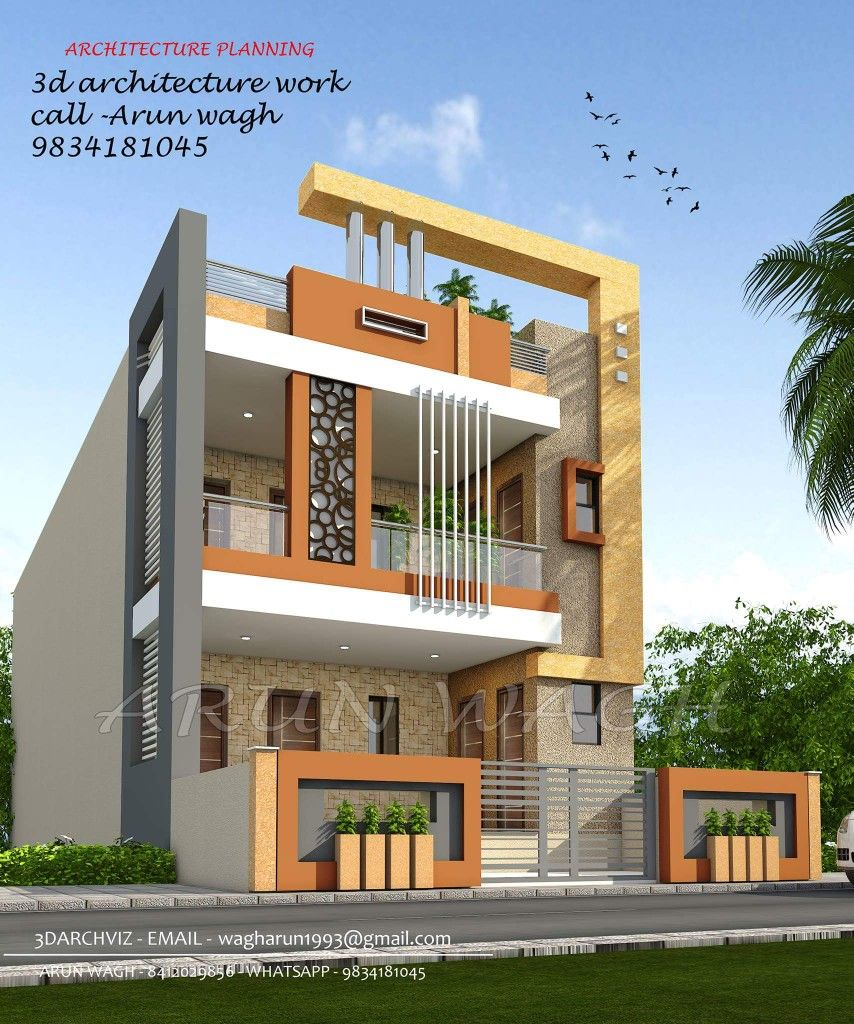 Glory Architecture 25x50 House Elevation Islamabad: Gghh 3 Storey House Design Facade House Building Elevation
