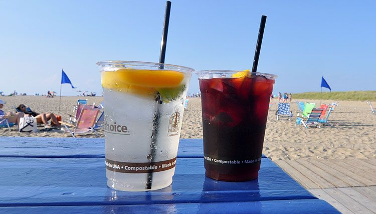 One of our favorite cocktails at The Jetties is the housemade Sangria. There's the red with lemon, lime, and orange slices or the white with lemon, lime, and peach slices: both very refreshing on a warm August evening.