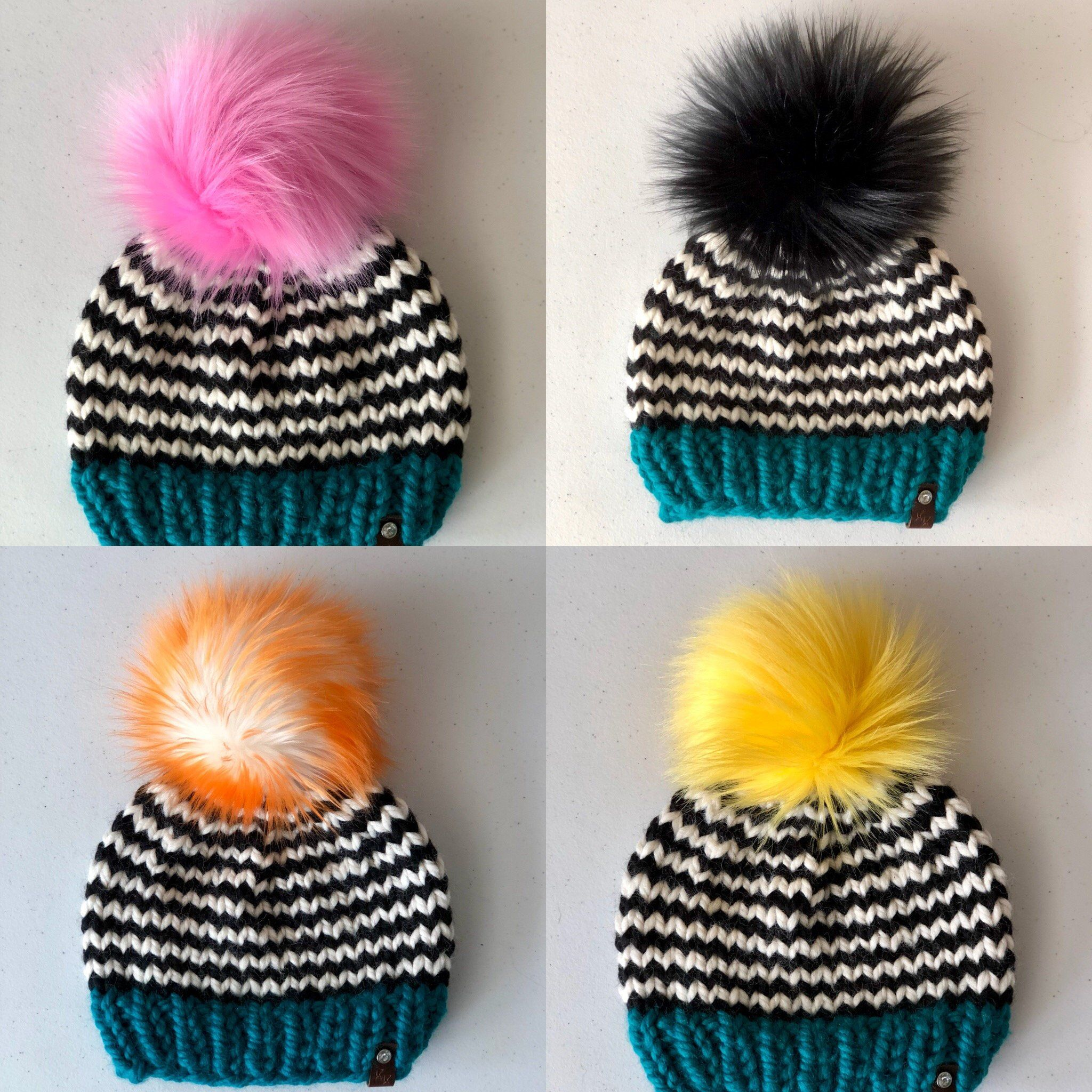 24a51d0e62c Toddler Peacock Teal Band Black Striped Hand Knit Beanie