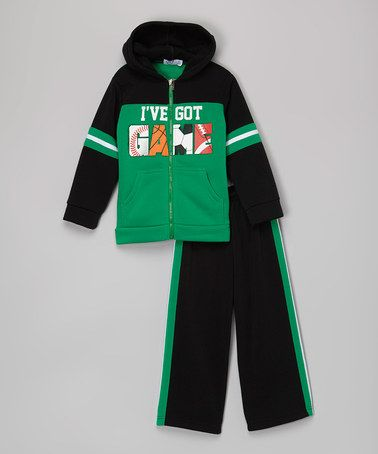 Love this Green 'Got Game' Zip-Up Hoodie & Sweatpants - Toddler & Boys on #zulily! #zulilyfinds